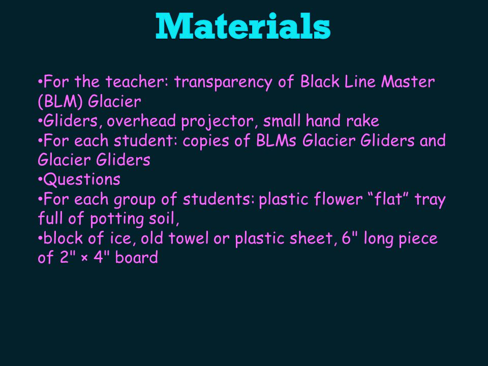 For the teacher: transparency of Black Line Master (BLM) Glacier Gliders, overhead projector, small hand rake For each student: copies of BLMs Glacier Gliders and Glacier Gliders Questions For each group of students: plastic flower flat tray full of potting soil, block of ice, old towel or plastic sheet, 6 long piece of 2 × 4 board
