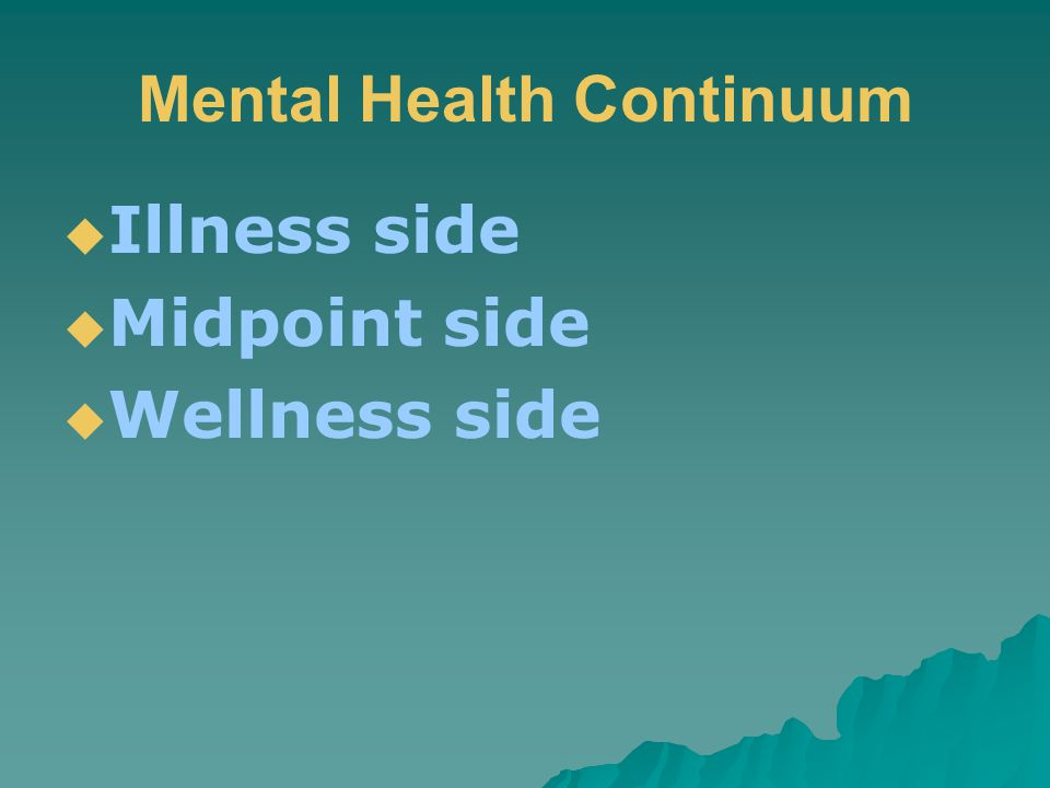 Mental Health Continuum  Illness side  Midpoint side  Wellness side