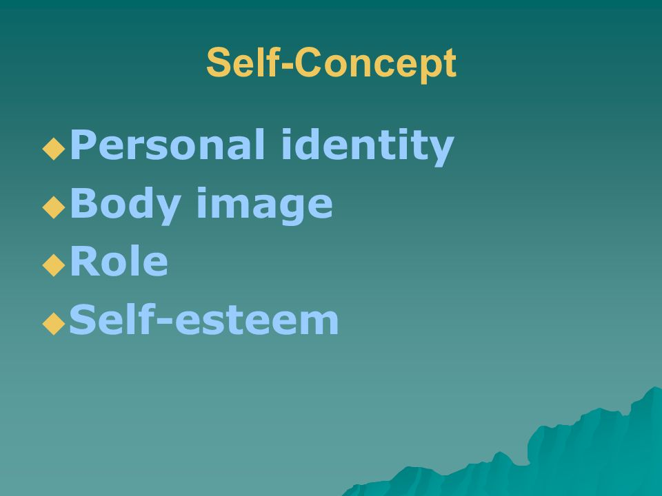 Self-Concept  Personal identity  Body image  Role  Self-esteem