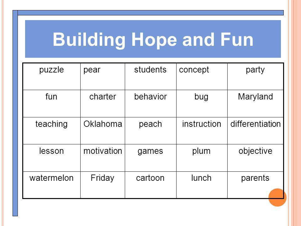 Building Hope and Fun parentslunchcartoonFridaywatermelon objectiveplumgamesmotivationlesson differentiationinstructionpeachOklahomateaching Marylandb