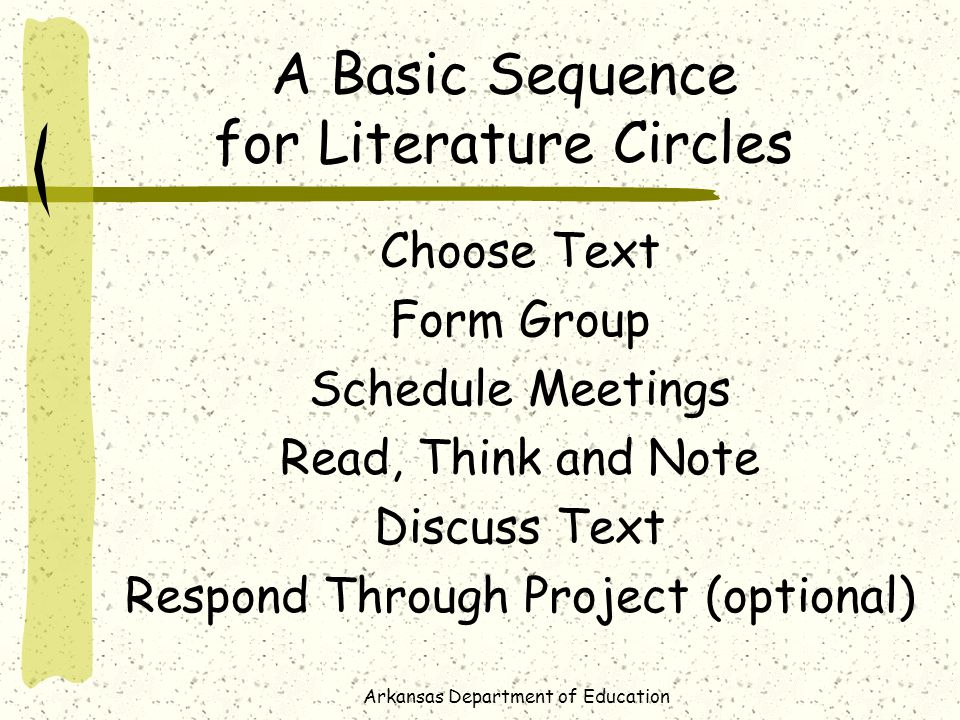 Arkansas Department of Education A Basic Sequence for Literature Circles Choose Text Form Group Schedule Meetings Read, Think and Note Discuss Text Respond Through Project (optional)