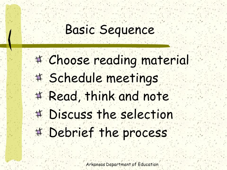 Arkansas Department of Education Basic Sequence Choose reading material Schedule meetings Read, think and note Discuss the selection Debrief the process