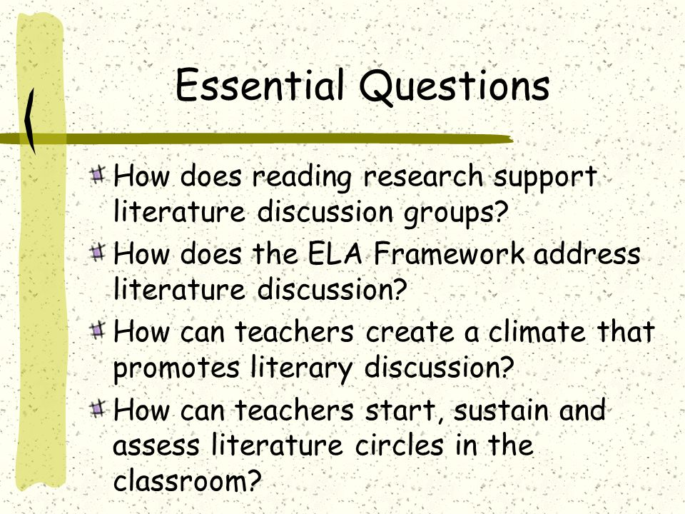 Essential Questions How does reading research support literature discussion groups.