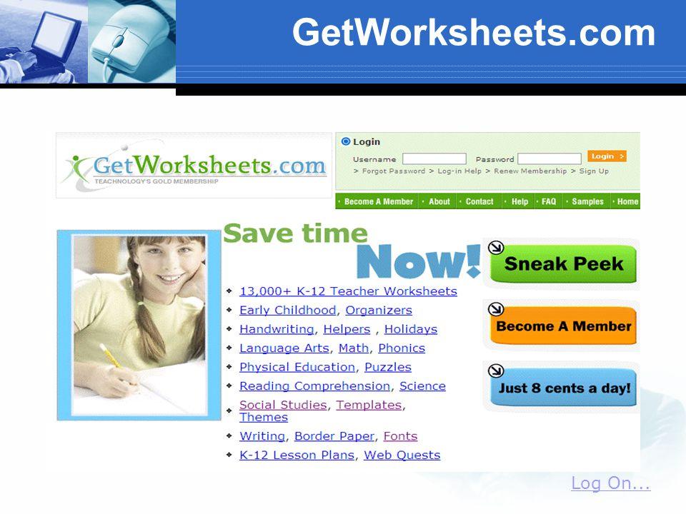 GetWorksheets.com Log On...