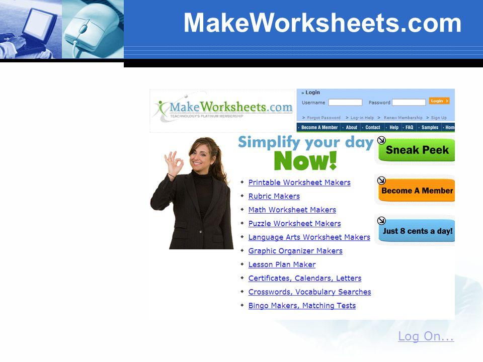 MakeWorksheets.com Log On...