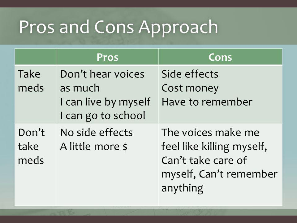 Pros and Cons ApproachPros and Cons Approach ProsCons Take meds Don't hear voices as much I can live by myself I can go to school Side effects Cost money Have to remember Don't take meds No side effects A little more $ The voices make me feel like killing myself, Can't take care of myself, Can't remember anything