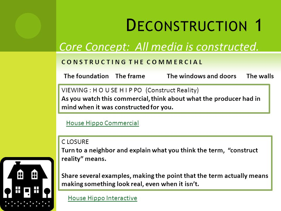 D ECONSTRUCTION 1 Core Concept: All media is constructed.