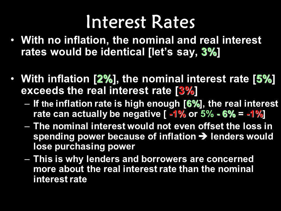 Interest Rates 3%With no inflation, the nominal and real interest rates would be identical [let's say, 3%] 2%5% 3%With inflation [2%], the nominal interest rate [5%] exceeds the real interest rate [3%] 6% -1%- 6%-1% –If the inflation rate is high enough [6%], the real interest rate can actually be negative [ -1% or 5% - 6% = -1%] –The nominal interest would not even offset the loss in spending power because of inflation  lenders would lose purchasing power –This is why lenders and borrowers are concerned more about the real interest rate than the nominal interest rate