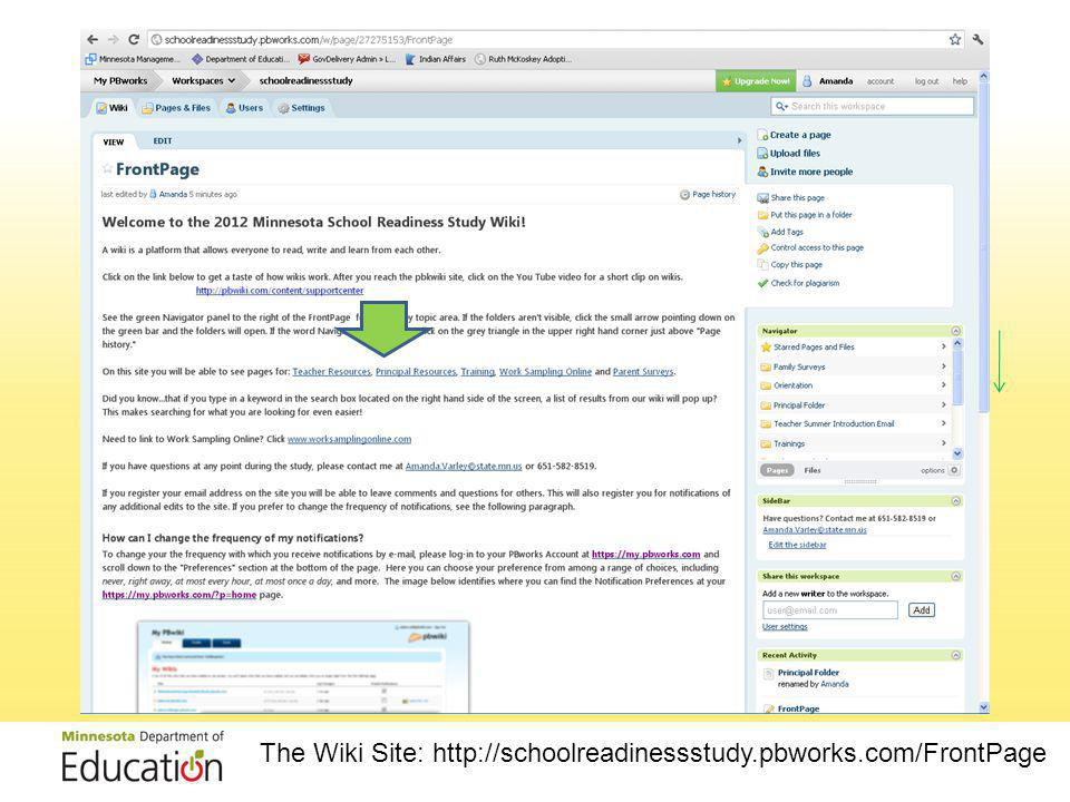 The Wiki Site: http://schoolreadinessstudy.pbworks.com/FrontPage