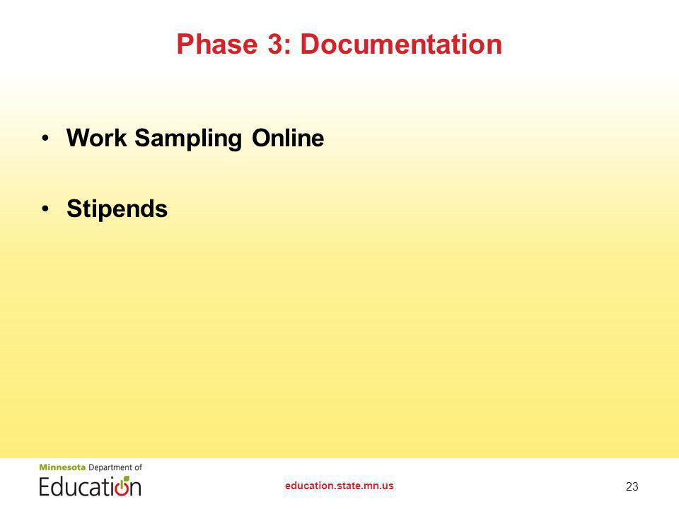 Work Sampling Online Stipends Phase 3: Documentation education.state.mn.us 23