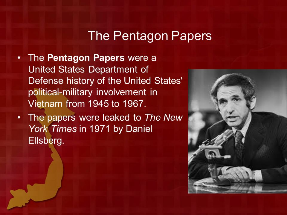 The Pentagon Papers The Pentagon Papers were a United States Department of Defense history of the United States political-military involvement in Vietnam from 1945 to 1967.