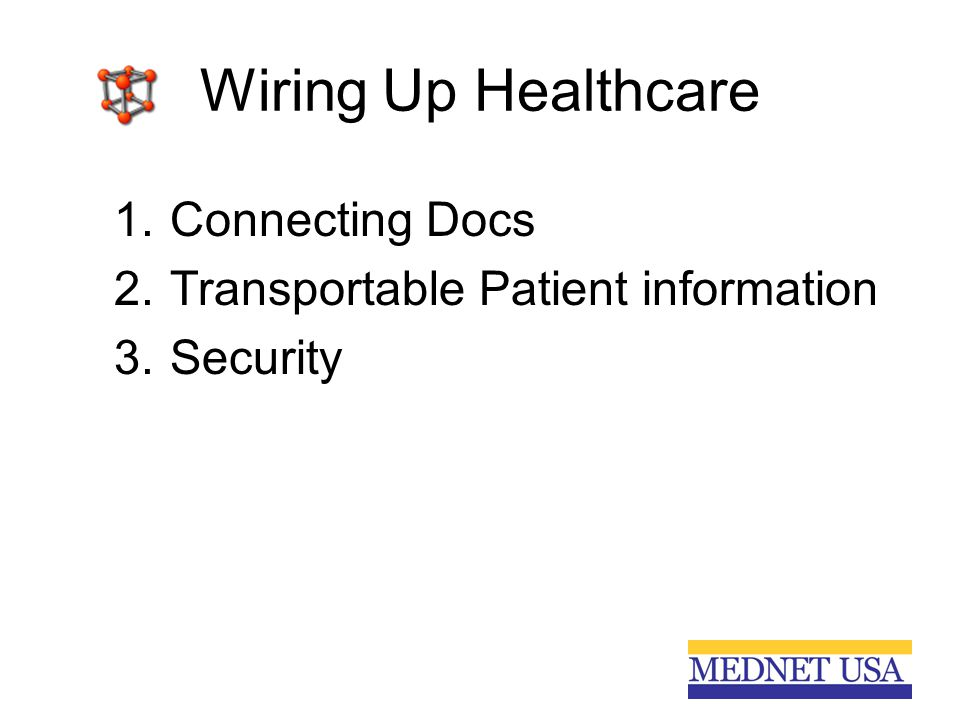 Wiring Up Healthcare 1.Connecting Docs 2.Transportable Patient information 3.Security