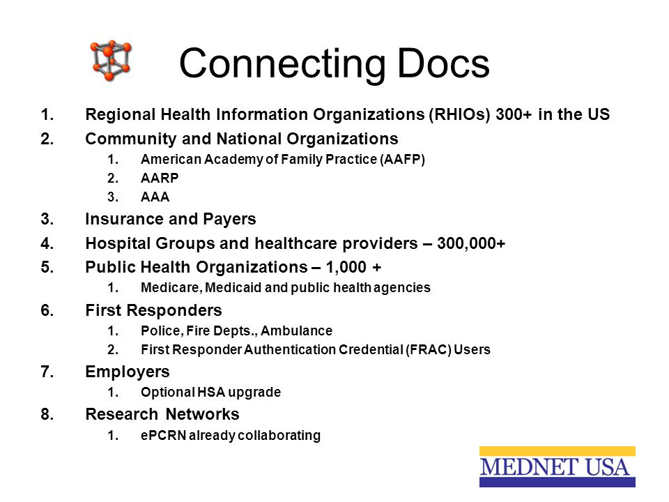 Connecting Docs 1.Regional Health Information Organizations (RHIOs) 300+ in the US 2.Community and National Organizations 1.American Academy of Family Practice (AAFP) 2.AARP 3.AAA 3.Insurance and Payers 4.Hospital Groups and healthcare providers – 300,000+ 5.Public Health Organizations – 1,000 + 1.Medicare, Medicaid and public health agencies 6.First Responders 1.Police, Fire Depts., Ambulance 2.First Responder Authentication Credential (FRAC) Users 7.Employers 1.Optional HSA upgrade 8.Research Networks 1.ePCRN already collaborating