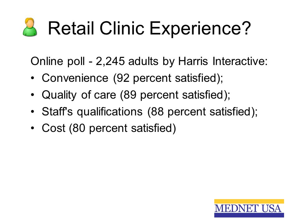 Retail Clinic Experience? Online poll - 2,245 adults by Harris Interactive: Convenience (92 percent satisfied); Quality of care (89 percent satisfied)