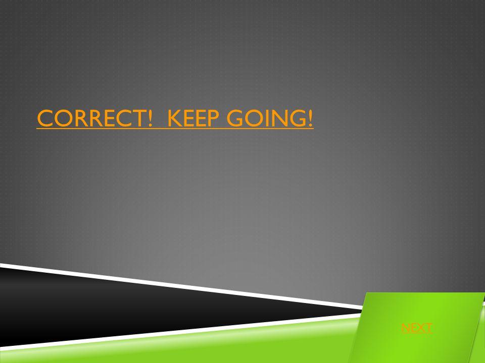 CORRECT! KEEP GOING! NEXT