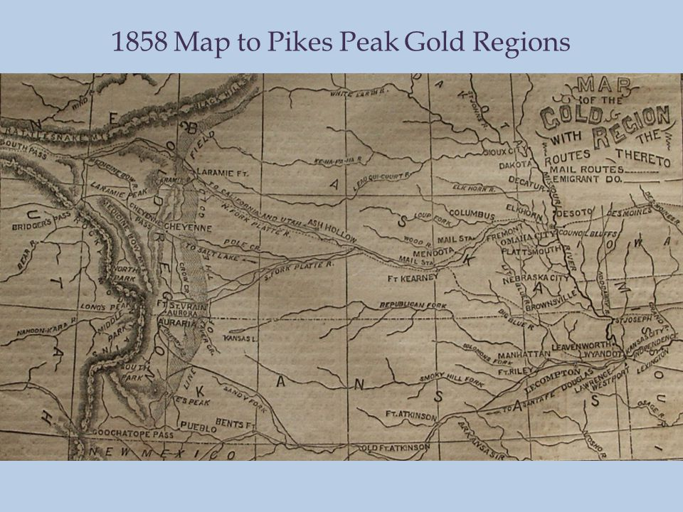 1858 Map to Pikes Peak Gold Regions