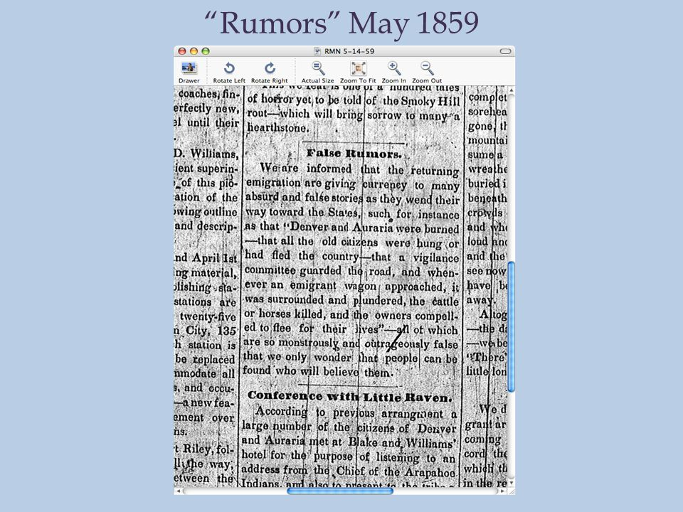 Rumors May 1859