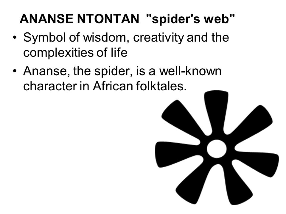 ANANSE NTONTAN spider s web Symbol of wisdom, creativity and the complexities of life Ananse, the spider, is a well-known character in African folktales.