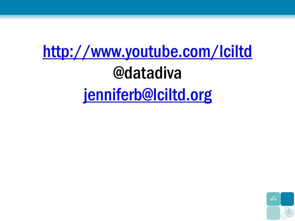 http://www.youtube.com/lciltd http://www.youtube.com/lciltd @datadiva jenniferb@lciltd.org jenniferb@lciltd.org