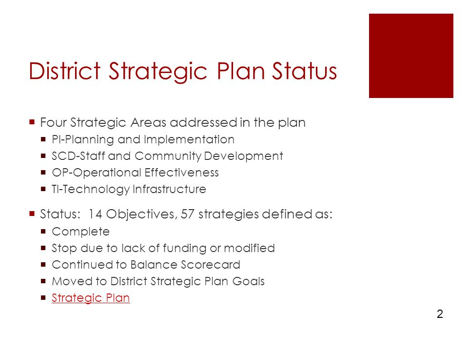 District Strategic Plan Status  Four Strategic Areas addressed in the plan  PI-Planning and Implementation  SCD-Staff and Community Development  OP-Operational Effectiveness  TI-Technology Infrastructure  Status: 14 Objectives, 57 strategies defined as:  Complete  Stop due to lack of funding or modified  Continued to Balance Scorecard  Moved to District Strategic Plan Goals  Strategic Plan Strategic Plan 2