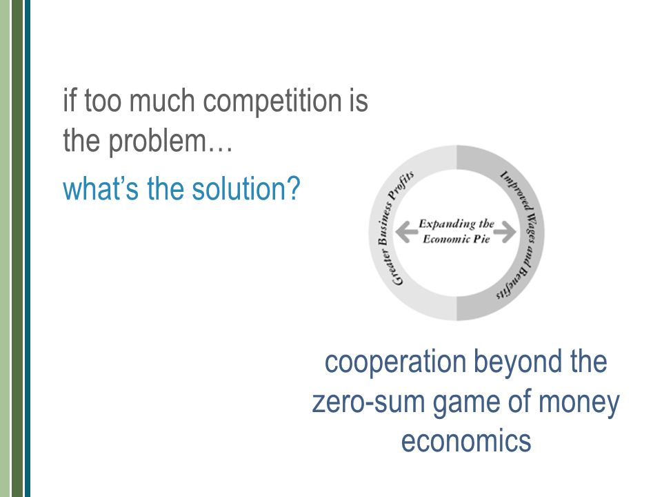 cooperation beyond the zero-sum game of money economics if too much competition is the problem… what's the solution?