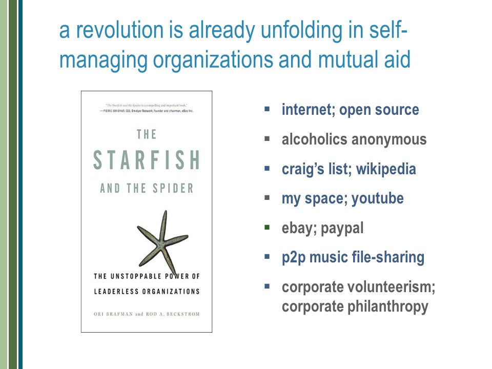 a revolution is already unfolding in self- managing organizations and mutual aid  internet; open source  alcoholics anonymous  craig's list; wikipe