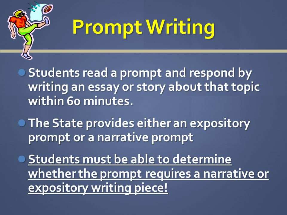 Prompt Writing Students read a prompt and respond by writing an essay or story about that topic within 60 minutes.
