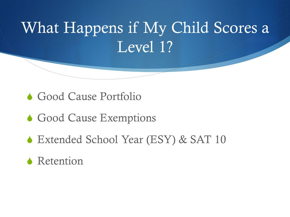 What Happens if My Child Scores a Level 1?  Good Cause Portfolio  Good Cause Exemptions  Extended School Year (ESY) & SAT 10  Retention