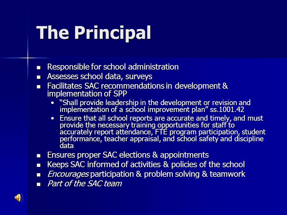 The Principal Responsible for school administration Responsible for school administration Assesses school data, surveys Assesses school data, surveys