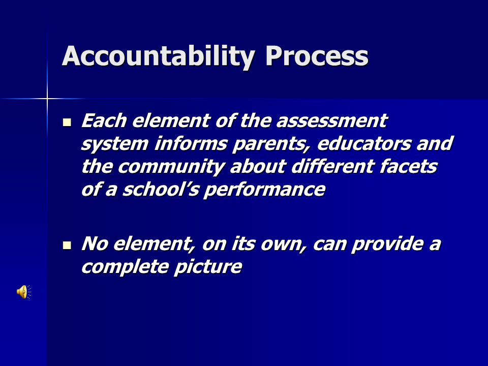 Accountability Process Each element of the assessment system informs parents, educators and the community about different facets of a school's perform