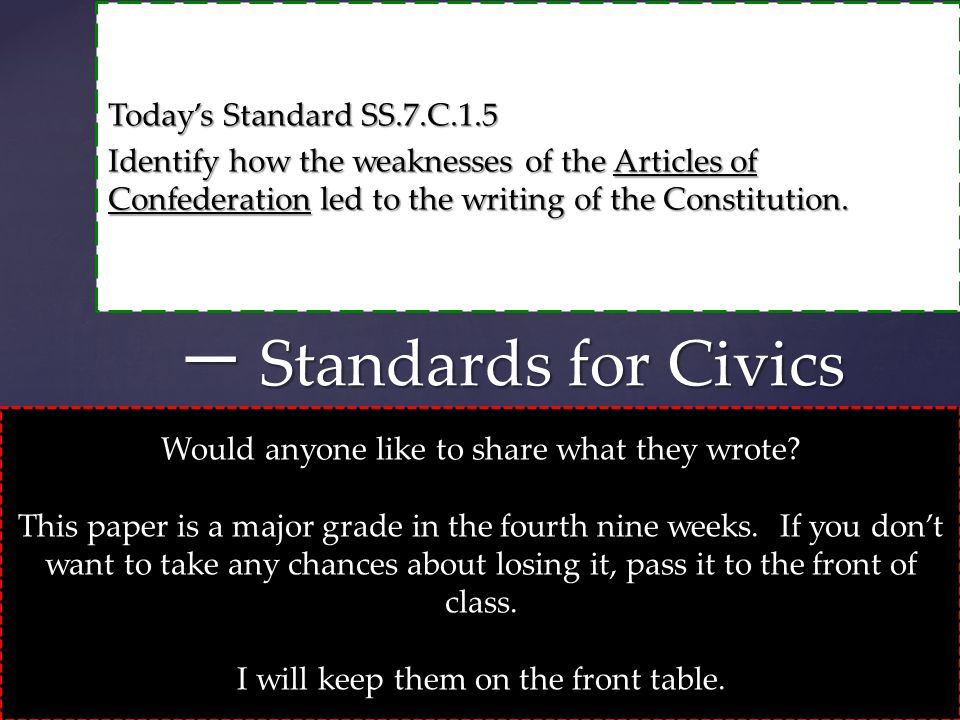 Today's Standard SS.7.C.1.5 Identify how the weaknesses of the Articles of Confederation led to the writing of the Constitution. 一 Standards for Civic