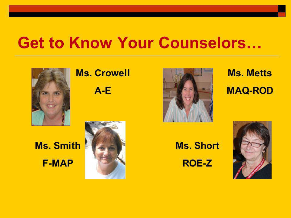 Get to Know Your Counselors… Ms. Crowell A-E Ms. Smith F-MAP Ms. Metts MAQ-ROD Ms. Short ROE-Z