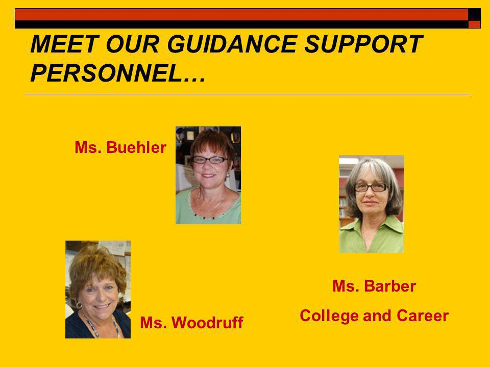 MEET OUR GUIDANCE SUPPORT PERSONNEL… Ms. Buehler Ms. Woodruff Ms. Barber College and Career
