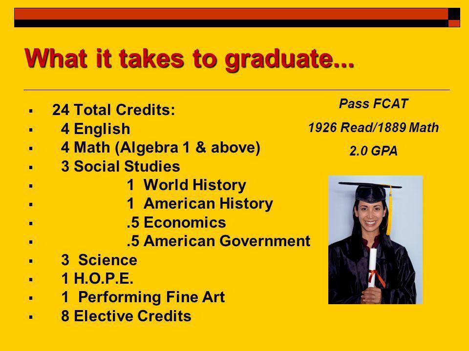  24 Total Credits:  4 English  4 Math (Algebra 1 & above)  3 Social Studies  1 World History  1 American History .5 Economics .5 American Government  3 Science  1 H.O.P.E.