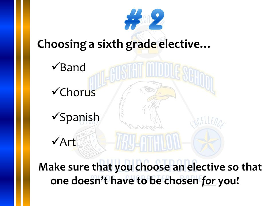 Choosing a sixth grade elective… Band Chorus Spanish Art Make sure that you choose an elective so that one doesn't have to be chosen for you!