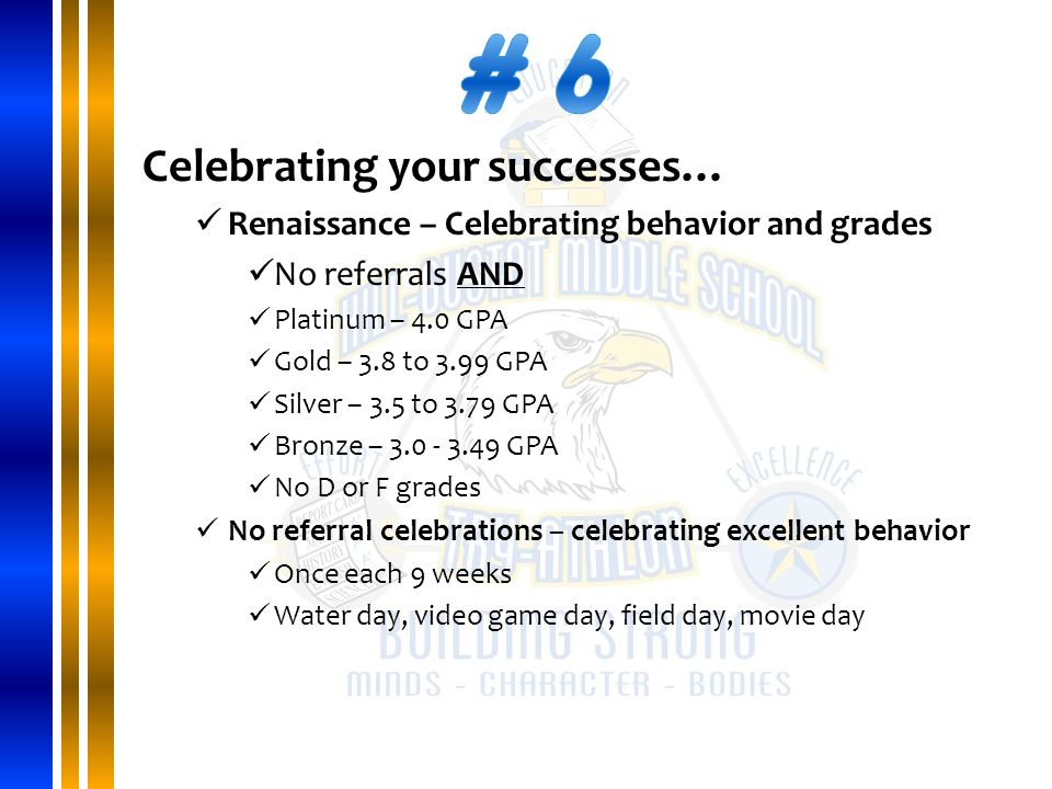 Celebrating your successes… Renaissance – Celebrating behavior and grades No referrals AND Platinum – 4.0 GPA Gold – 3.8 to 3.99 GPA Silver – 3.5 to 3.79 GPA Bronze – 3.0 - 3.49 GPA No D or F grades No referral celebrations – celebrating excellent behavior Once each 9 weeks Water day, video game day, field day, movie day