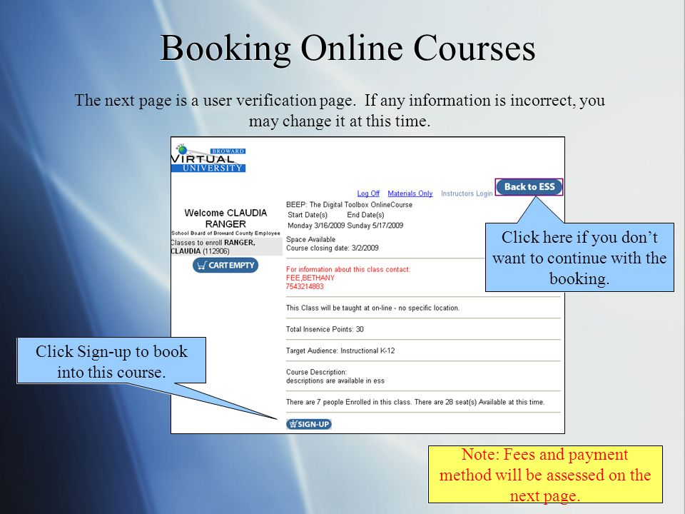 Booking Online Courses The next page is a user verification page.