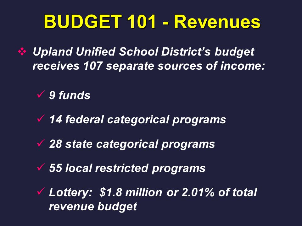 BUDGET 101 - Revenues  Upland Unified School District's budget receives 107 separate sources of income: 9 funds 14 federal categorical programs 28 state categorical programs 55 local restricted programs Lottery: $1.8 million or 2.01% of total revenue budget