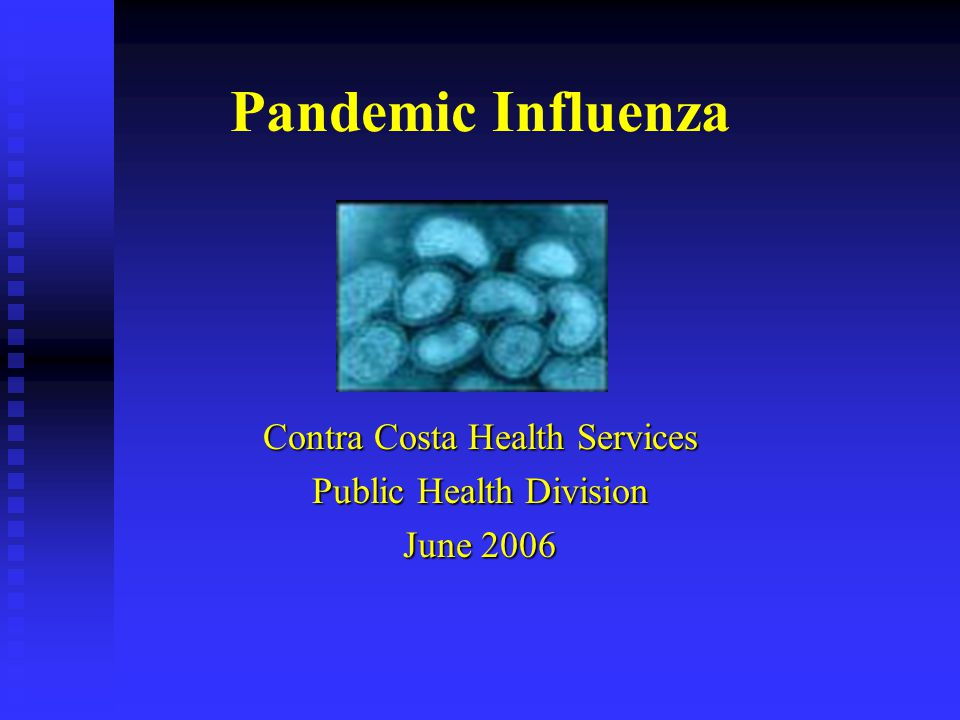 Pandemic Influenza Contra Costa Health Services Public Health Division June 2006
