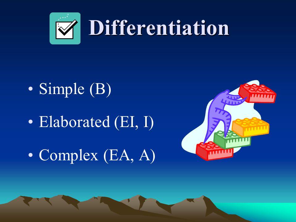 Differentiation Differentiation Simple (B) Elaborated (EI, I) Complex (EA, A)