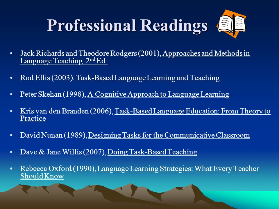 Professional Readings Professional Readings Jack Richards and Theodore Rodgers (2001), Approaches and Methods in Language Teaching, 2 nd Ed. Rod Ellis