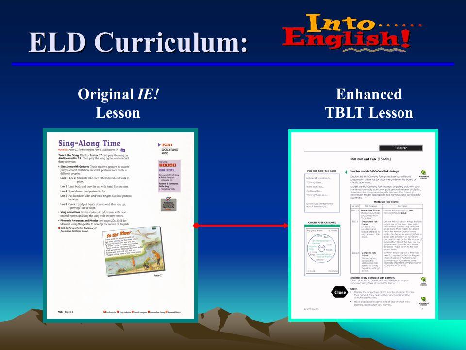 Original IE! Lesson Enhanced TBLT Lesson ELD Curriculum: