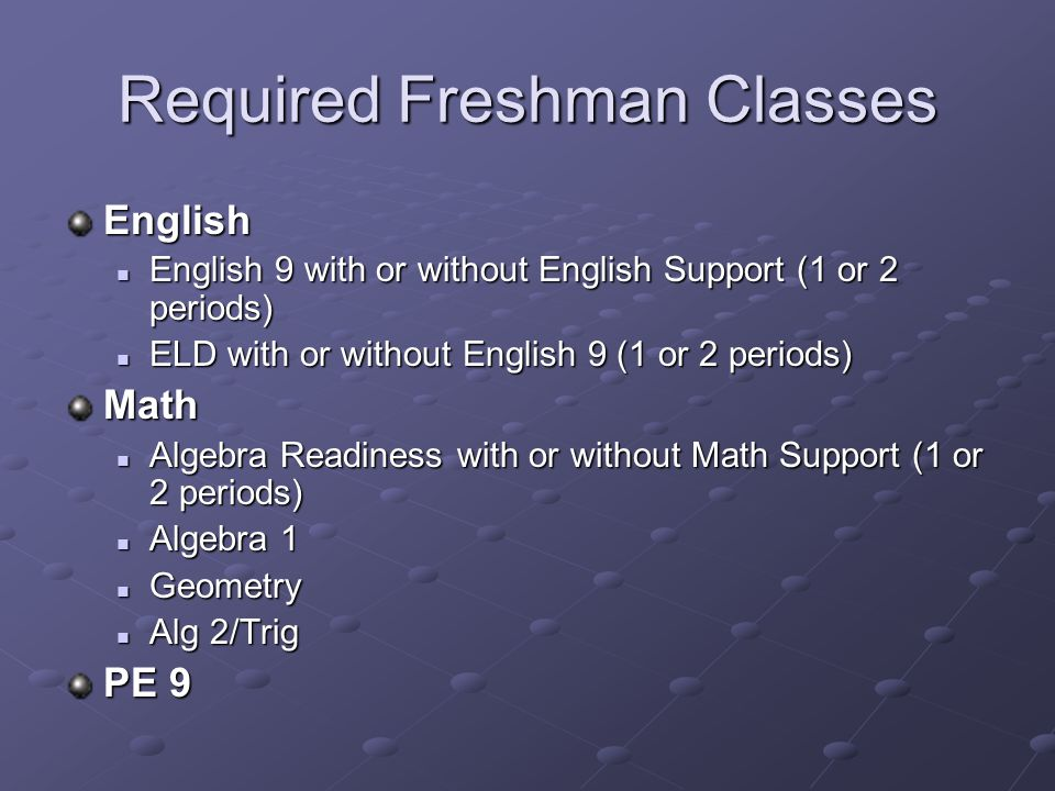 Required Freshman Classes English English 9 with or without English Support (1 or 2 periods) English 9 with or without English Support (1 or 2 periods