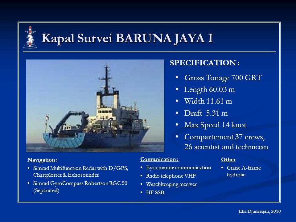 Kapal Survei BARUNA JAYA I Eka Djunarsjah, 2010 SPECIFICATION : Gross Tonage 700 GRT Length 60.03 m Width 11.61 m Draft 5.31 m Max Speed 14 knot Compartement 37 crews, 26 scientist and technician Navigation : Simrad Multifunction Radar with D/GPS, Chartplotter & Echosounder Simrad GyroCompass Robertson RGC 50 (Separated) Comunication : Byru marine communication Radio telephone VHF Watchkeeping receiver HF SSB Other Crane A-frame hydrolic