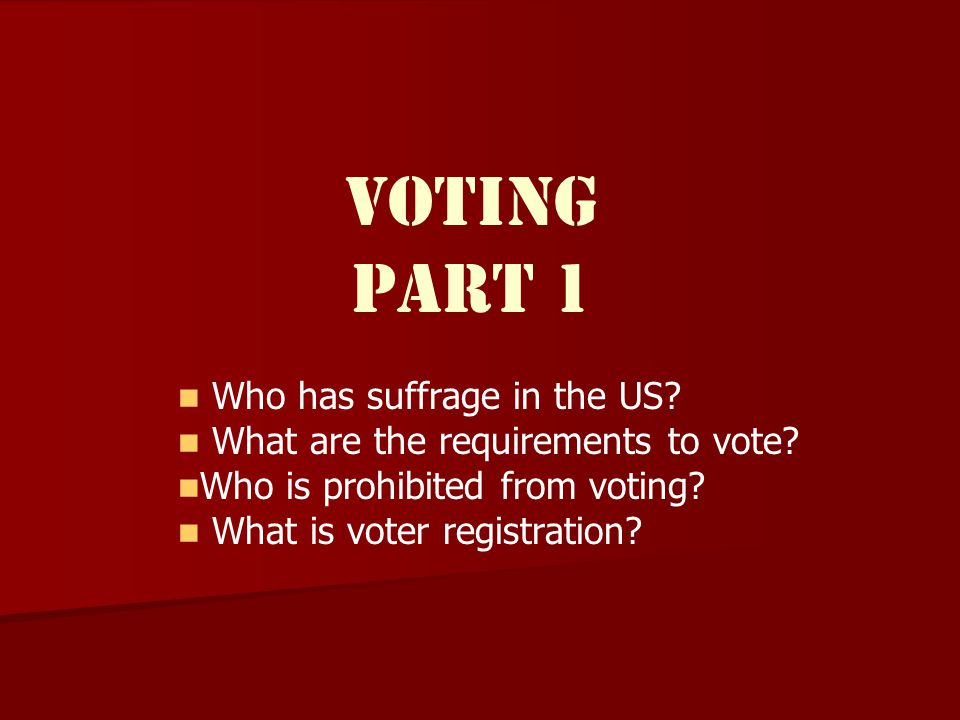 Voting Part 1 Who has suffrage in the US.What are the requirements to vote.