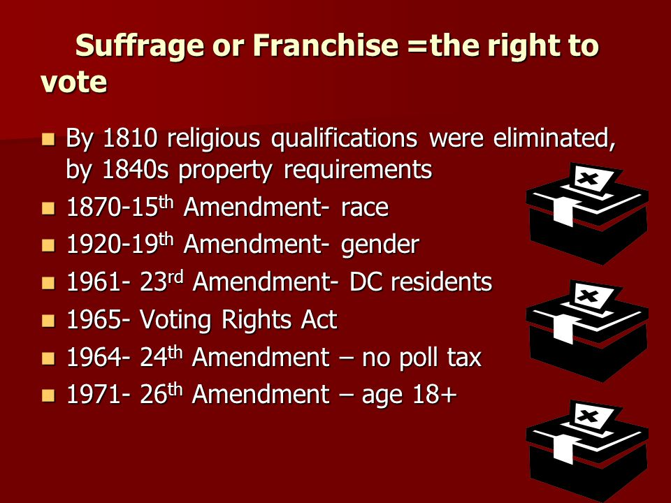 Suffrage or Franchise =the right to vote Suffrage or Franchise =the right to vote By 1810 religious qualifications were eliminated, by 1840s property requirements 1870-15th Amendment- race 1920-19th Amendment- gender 1961- 23rd Amendment- DC residents 1965- Voting Rights Act 1964- 24th Amendment – no poll tax 1971- 26th Amendment – age 18+