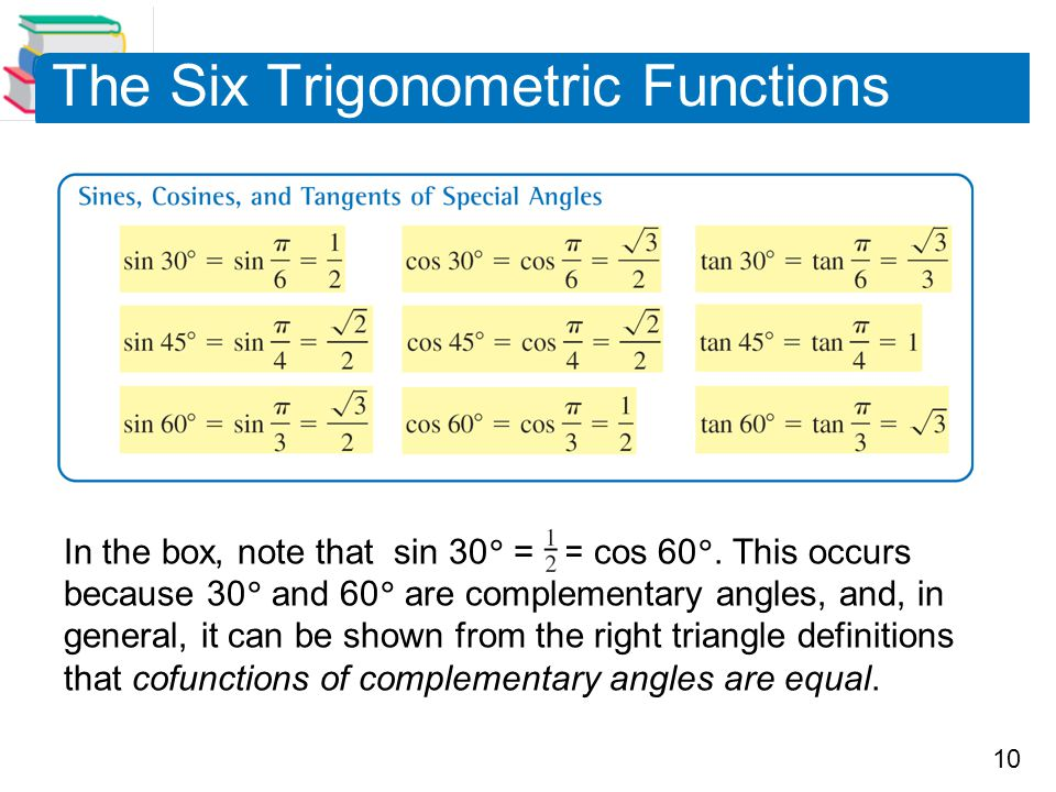 10 The Six Trigonometric Functions In the box, note that sin 30  = = cos 60 . This occurs because 30  and 60  are complementary angles, and, in ge