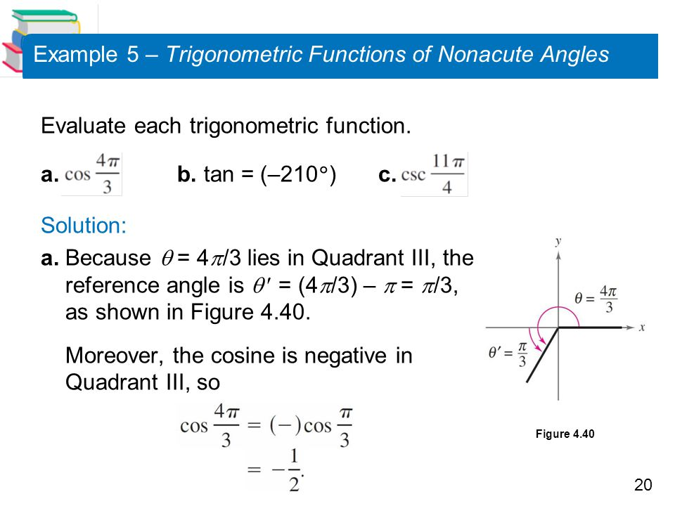 20 Example 5 – Trigonometric Functions of Nonacute Angles Evaluate each trigonometric function.