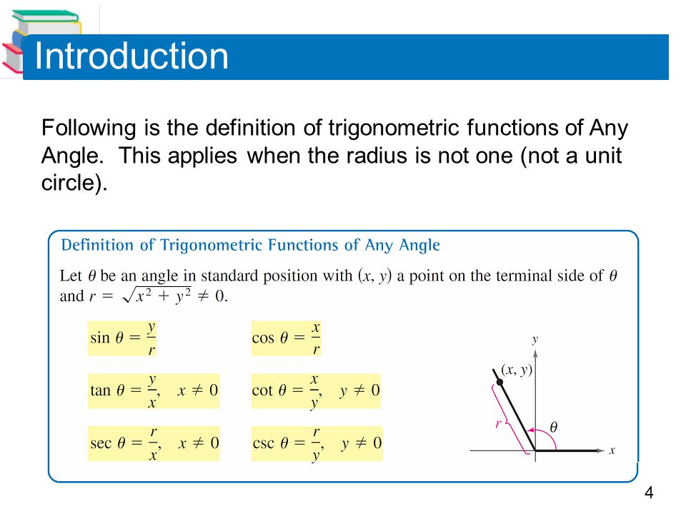 4 Following is the definition of trigonometric functions of Any Angle.