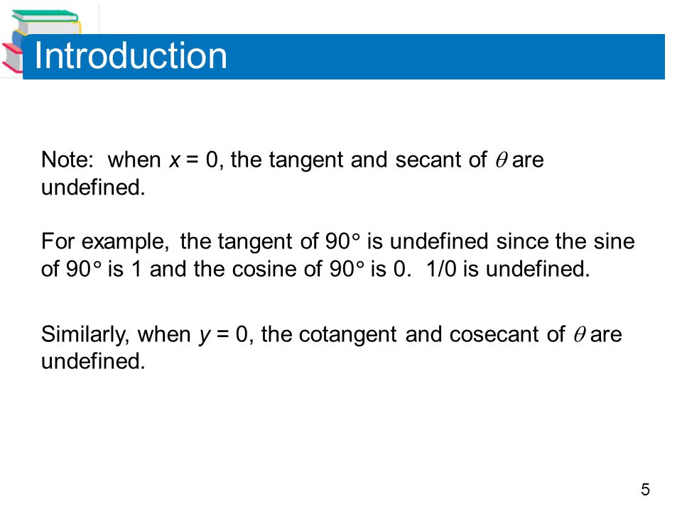 5 Introduction Note: when x = 0, the tangent and secant of  are undefined.